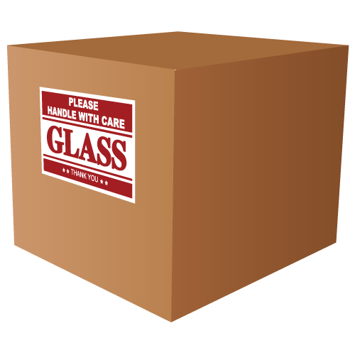 packaging glass products - fragile label - handle with care