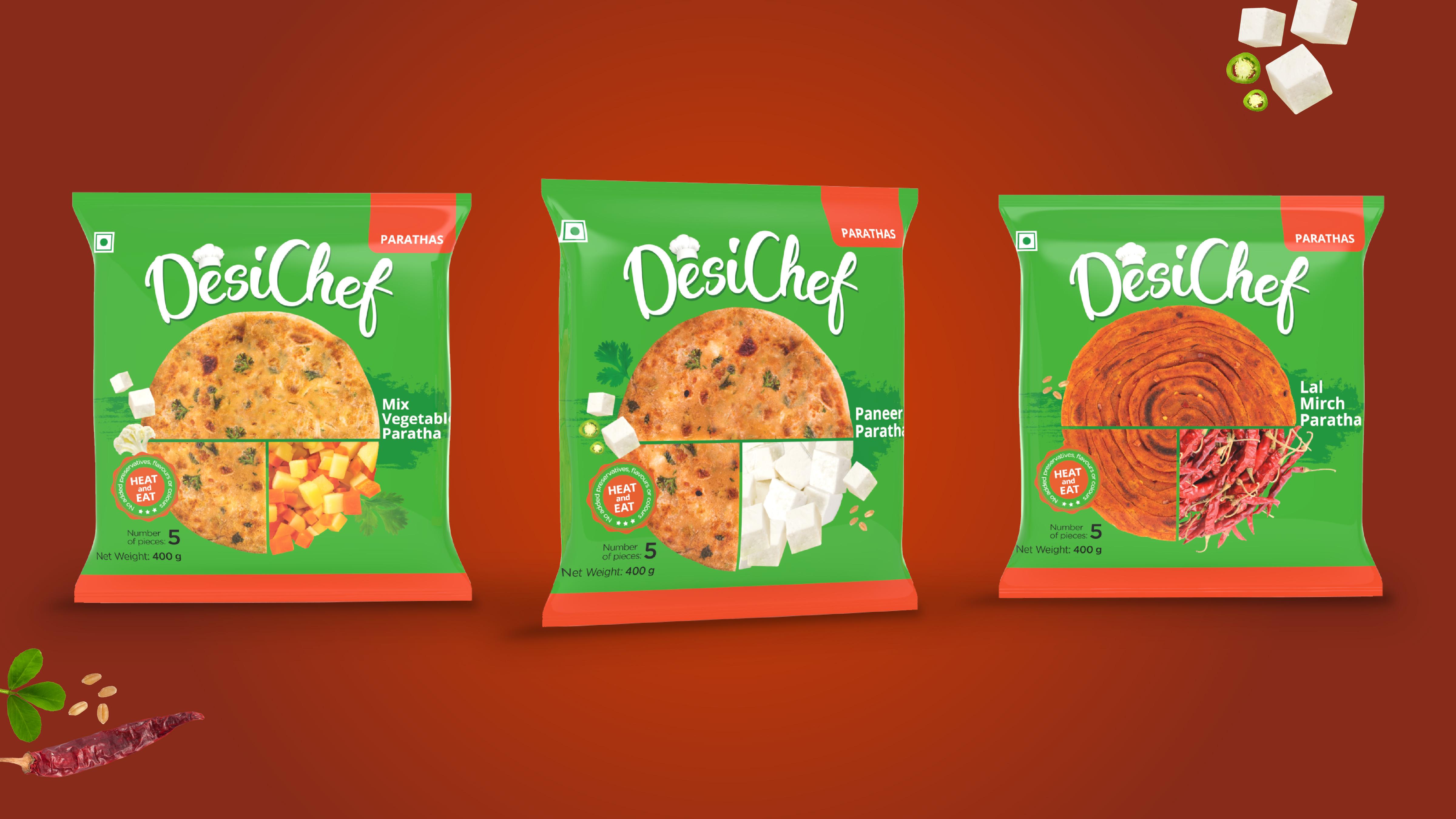 Brand & Packaging Design for Frozen food Brand Desi Chef