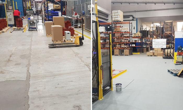 Warehouse Flooring - Before & After Repair