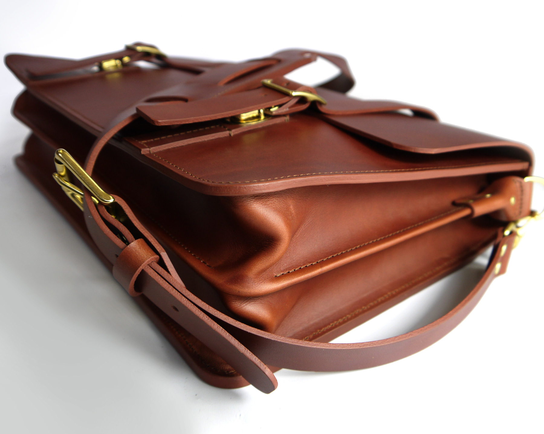 Leather Gusseted Bag