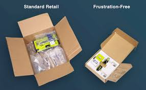 Frustration-free packaging (right) requires less material and is easy to open than the traditional packaging (left).
