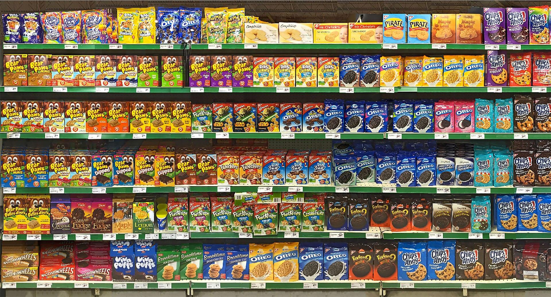 Crowded Retail Shelf