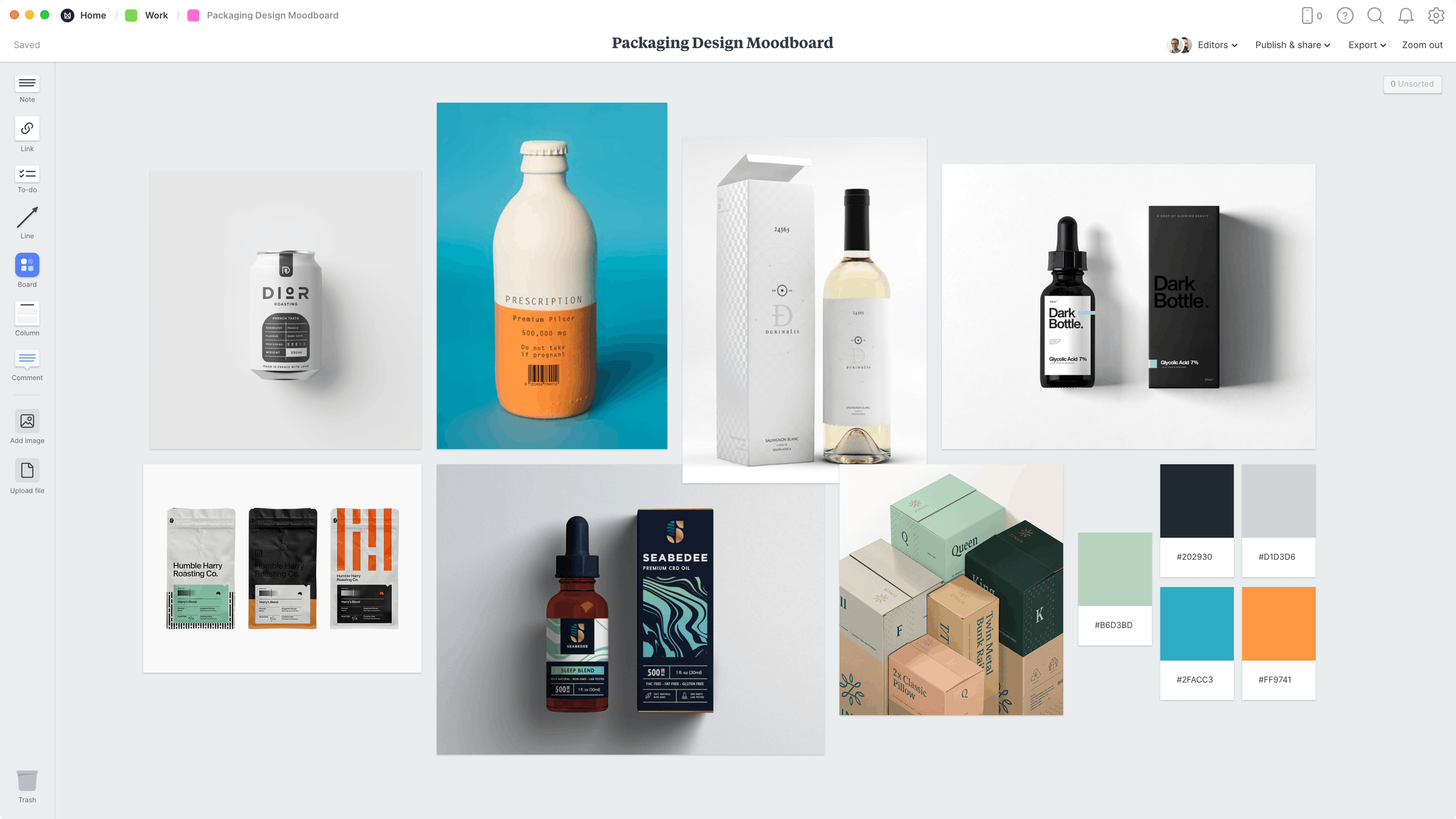 Mood boards in packaging