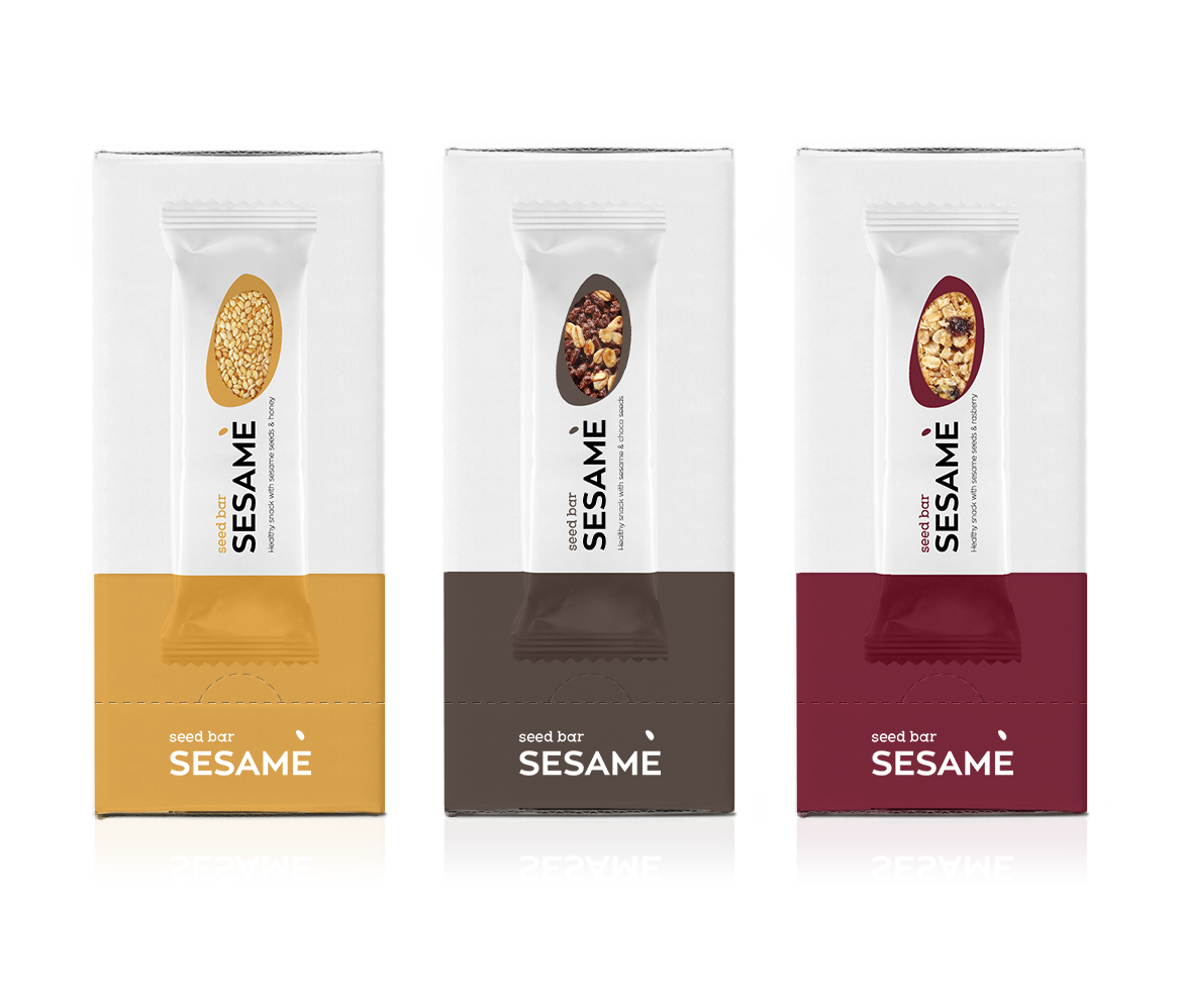 Attractive colors - Simple packaging shape or Sesamis Bar