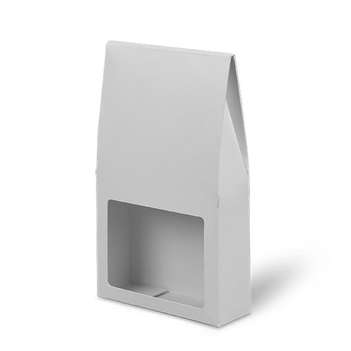 Window patch cartons have an opening or window to display the product inside.