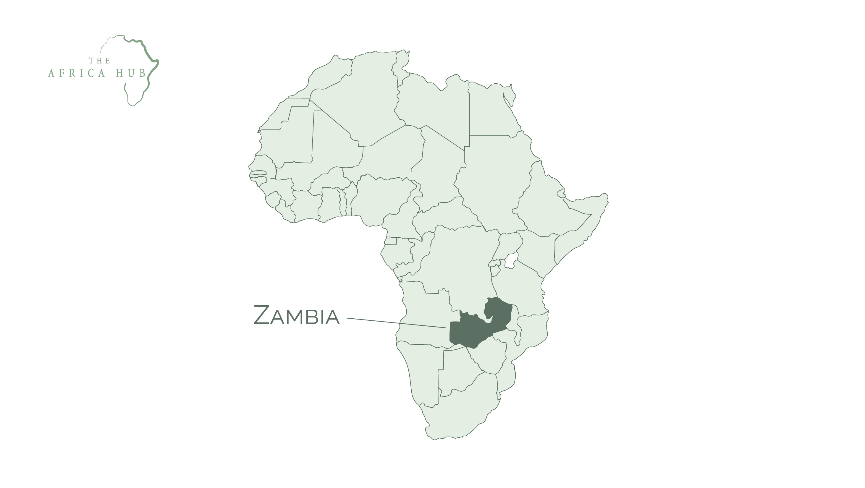 Map of Africa with Zambia highlighted