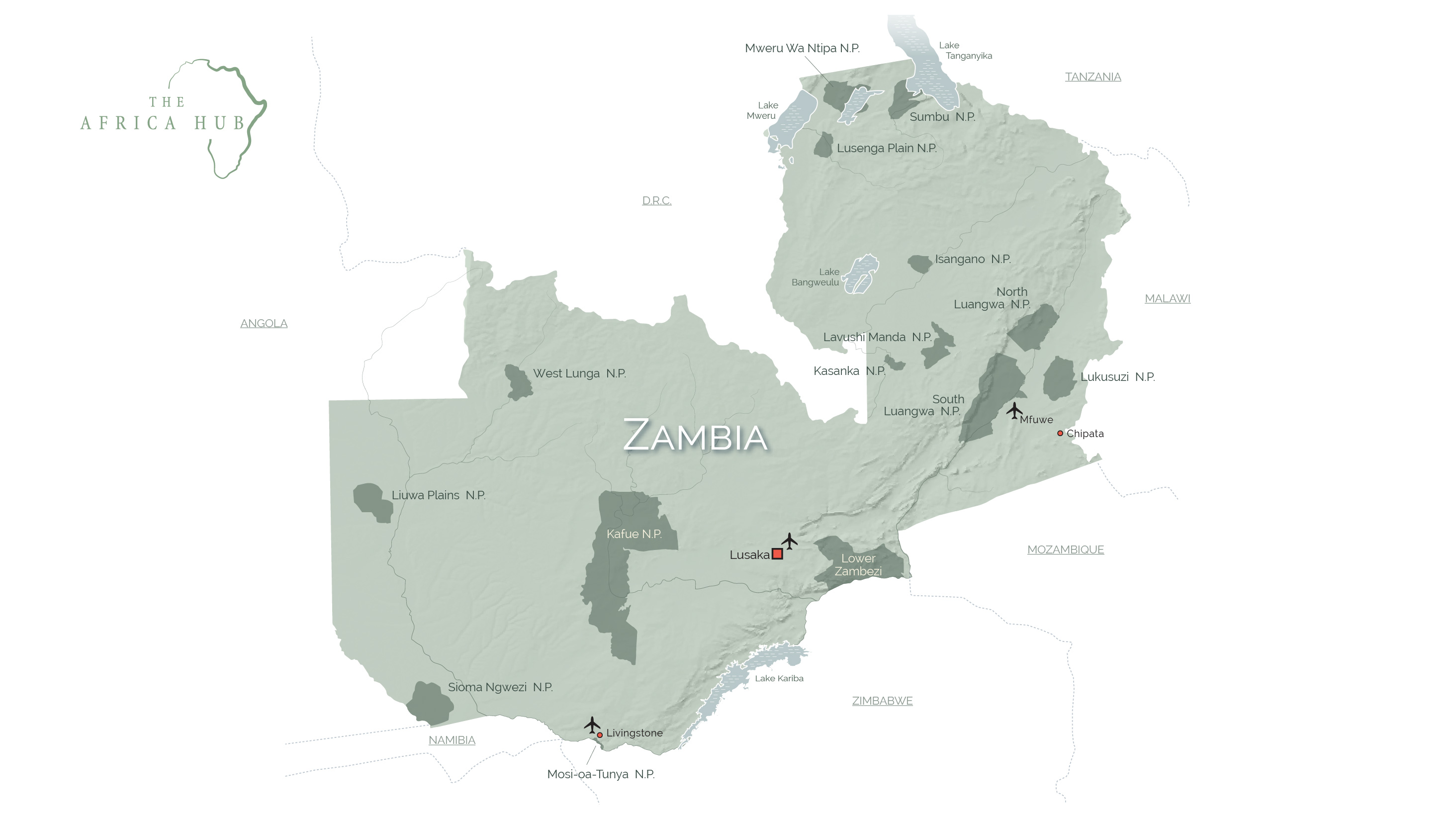 Map of Zambia with key tourism destinations marked