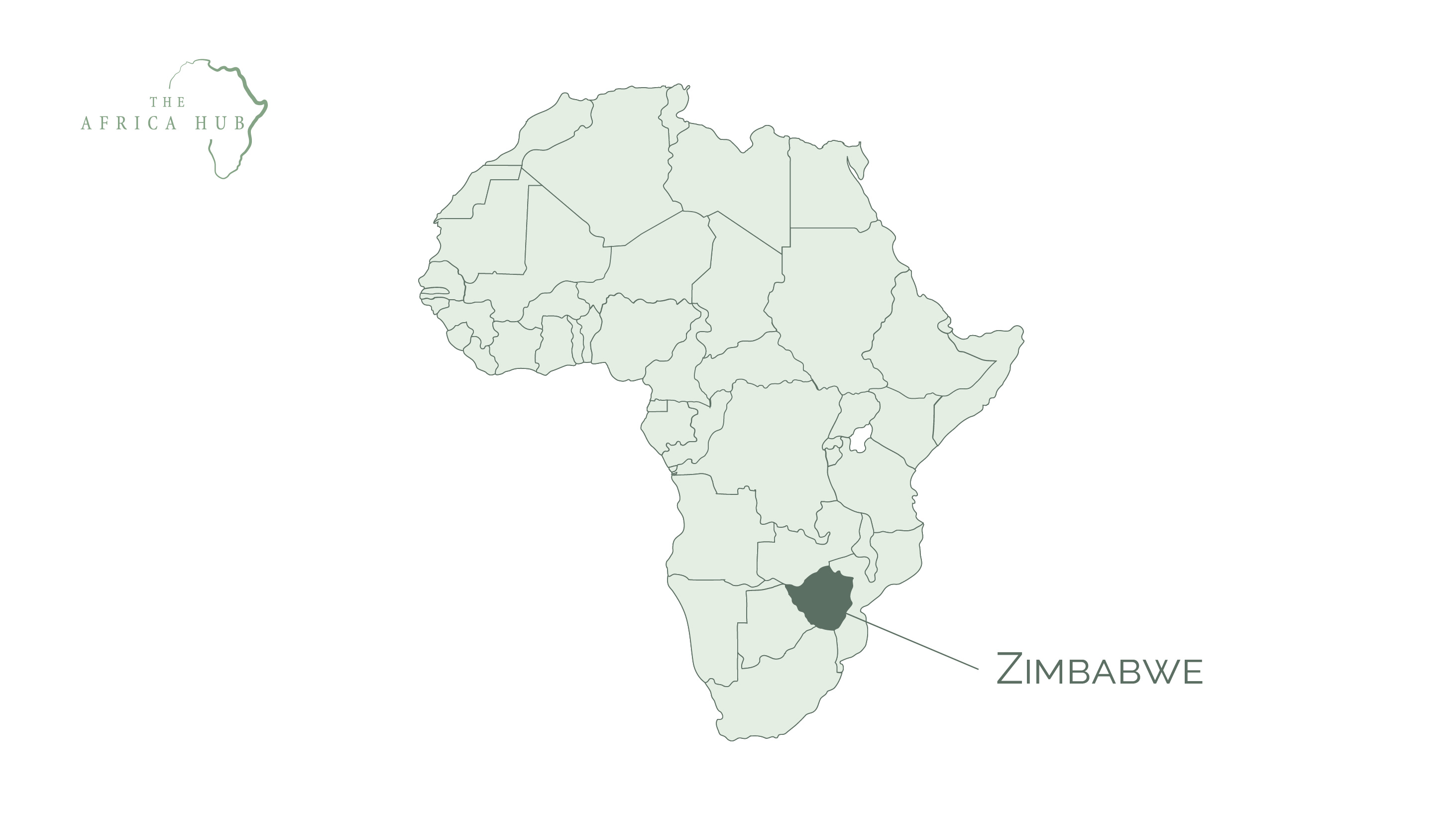 Map of Africa with Zimbabwe highlighted