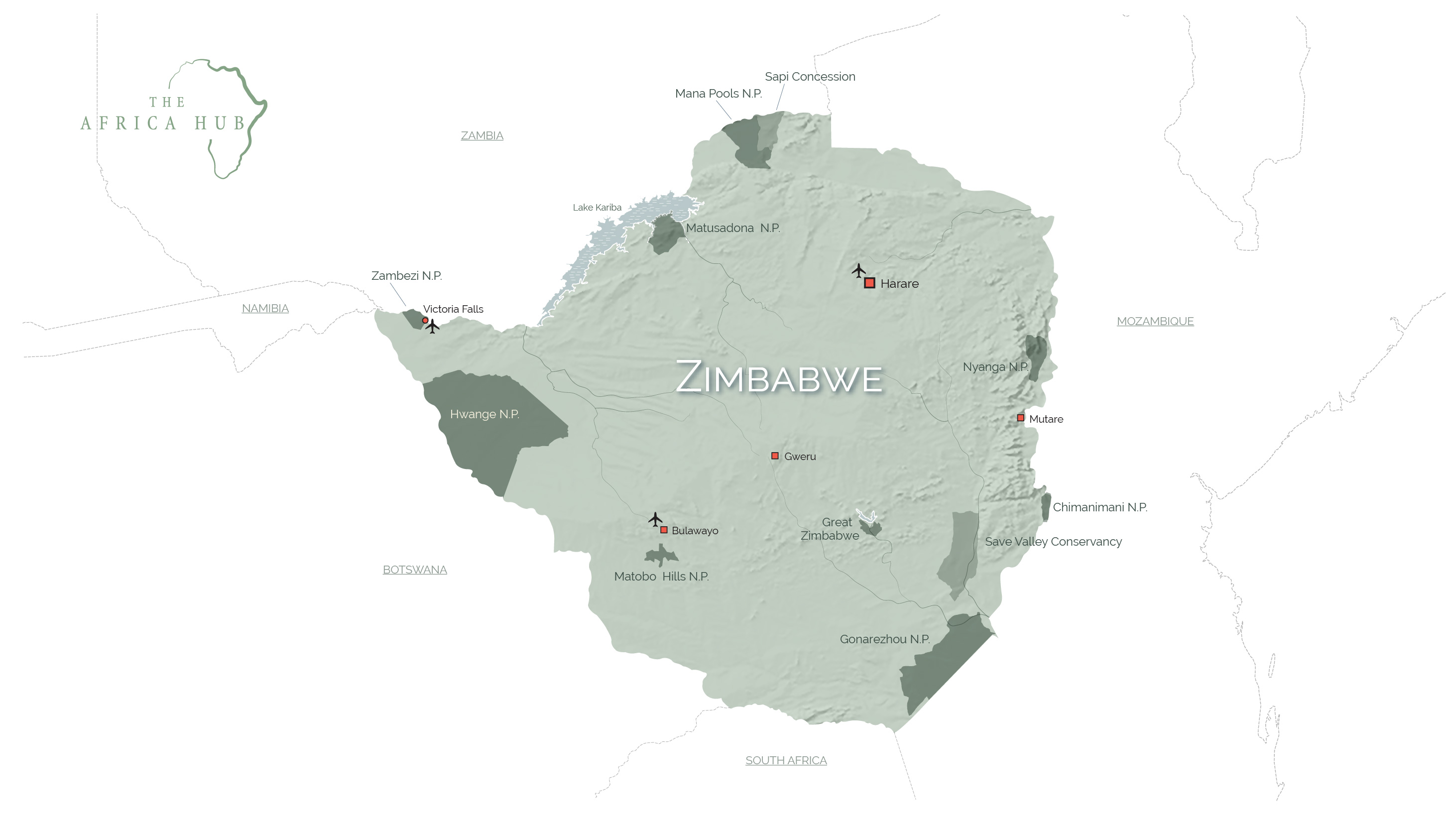 Map of Zimbabwe with key tourism sites highlighted