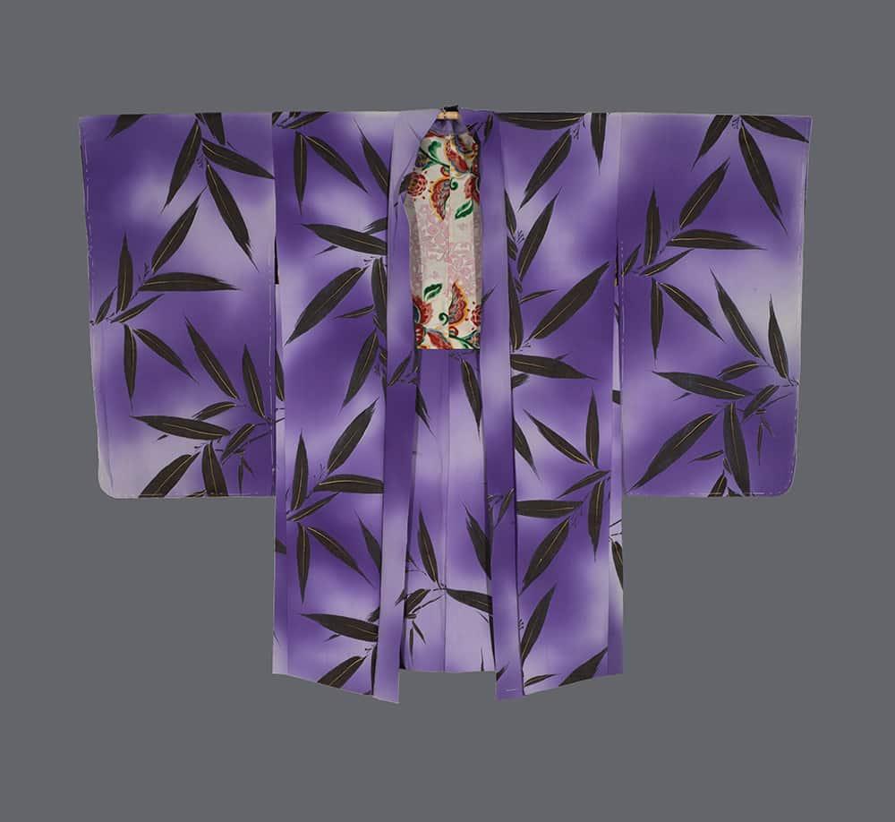 vintage haori, bamboo-leaf motifs