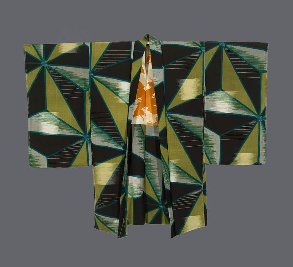 art deco vintage haori with triangle motifs