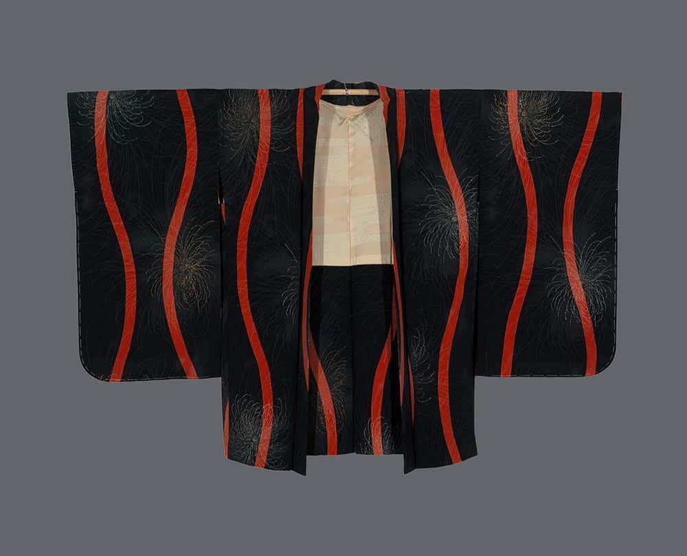 rinzu vintage haori with tatewaku and spider chrysanthemum motifs
