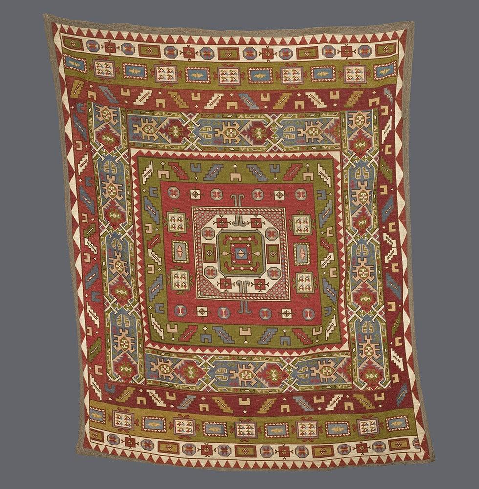 Kazak Style Embroidered Rug