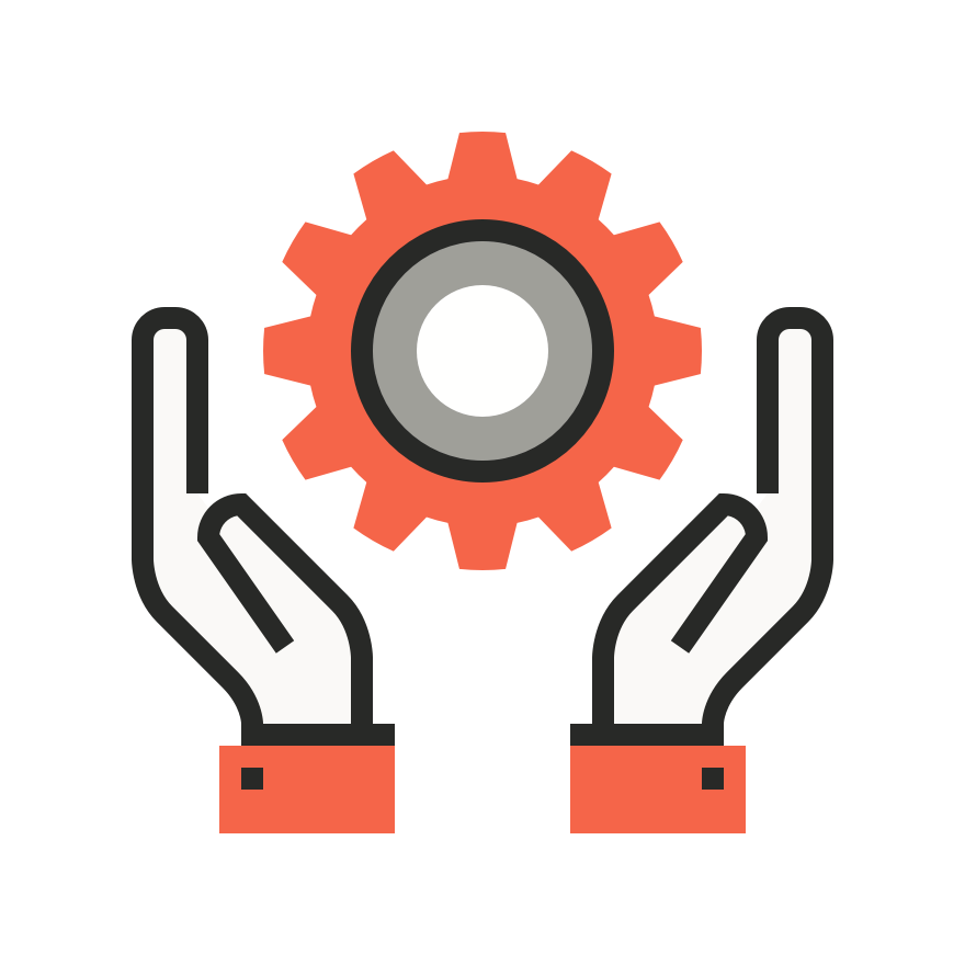 icon of hands holding a cog
