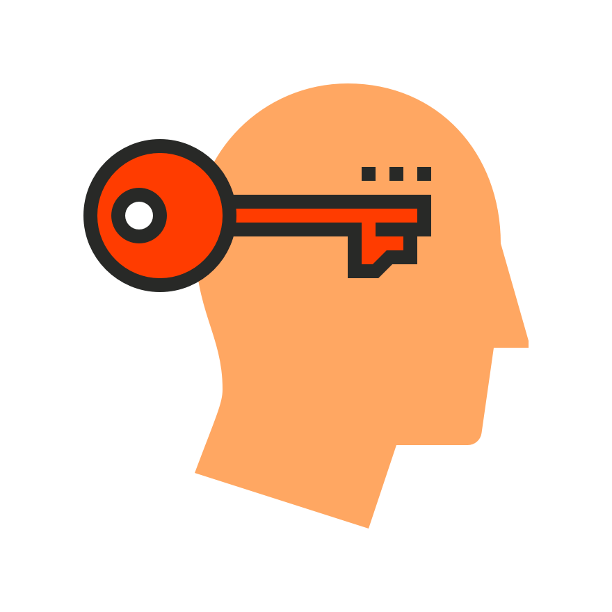 Graphic of man's head with a key.