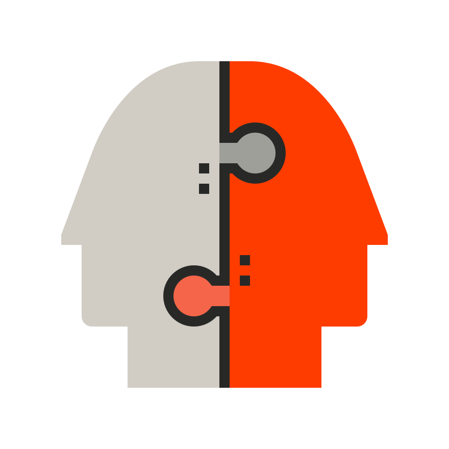 Graphic of two mens' heads