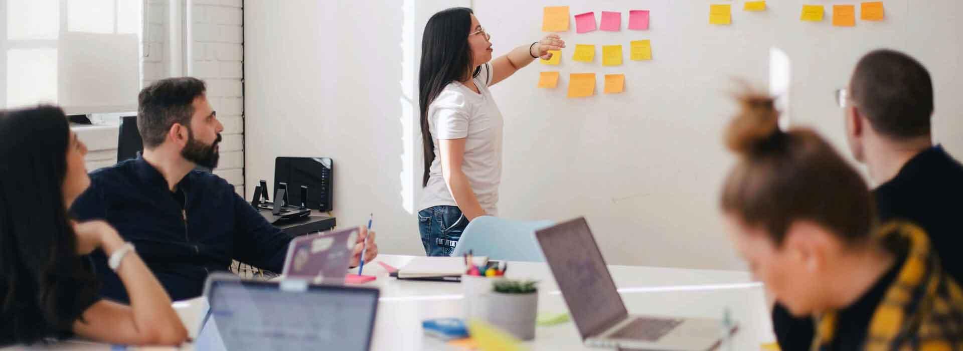 integrated digital marketing team around whiteboard