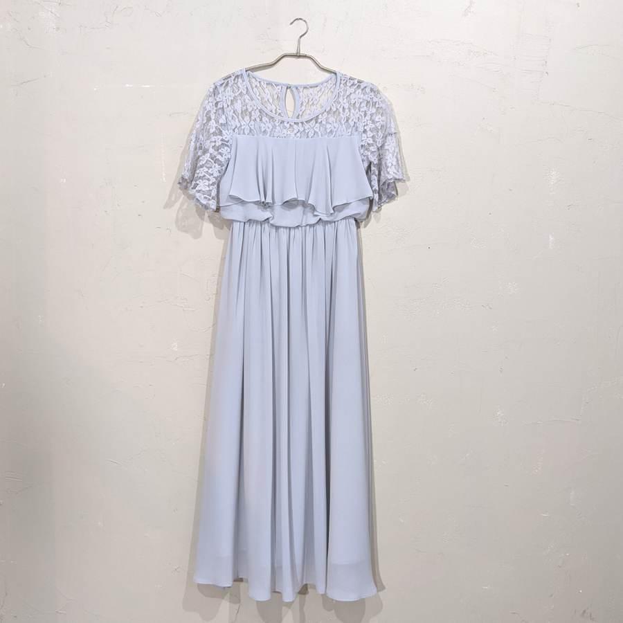 レース刺繍マキシ丈ワンピースドレス M/Freeサイズ ブルー