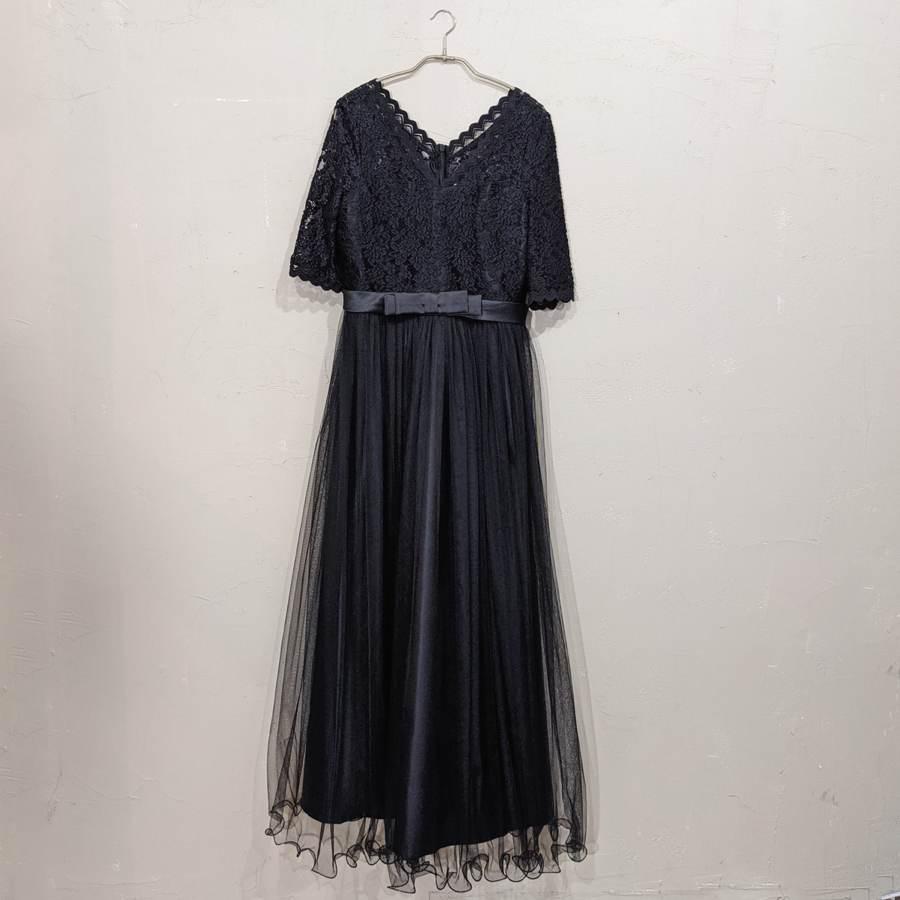 ソフトチュールロングドレス 3Lサイズ ブラック