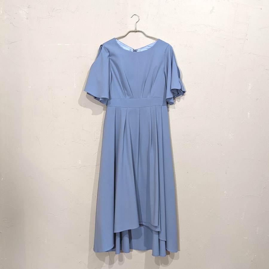 Fashion Letter スラッシュフレアスリーブフィッシュ&テールロングワンピース M/Freeサイズ ブルー