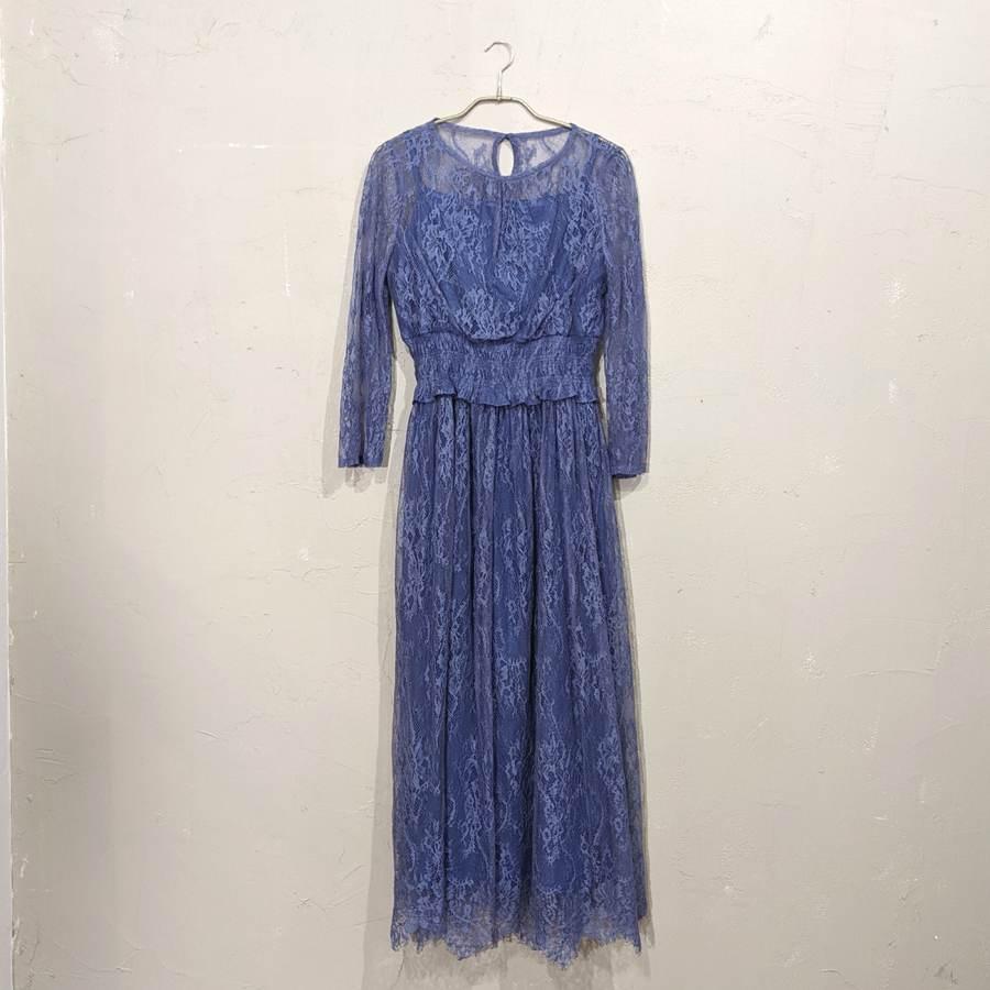 Dorry Doll ウエストシャーリングレースドレス M/Freeサイズ ブルー