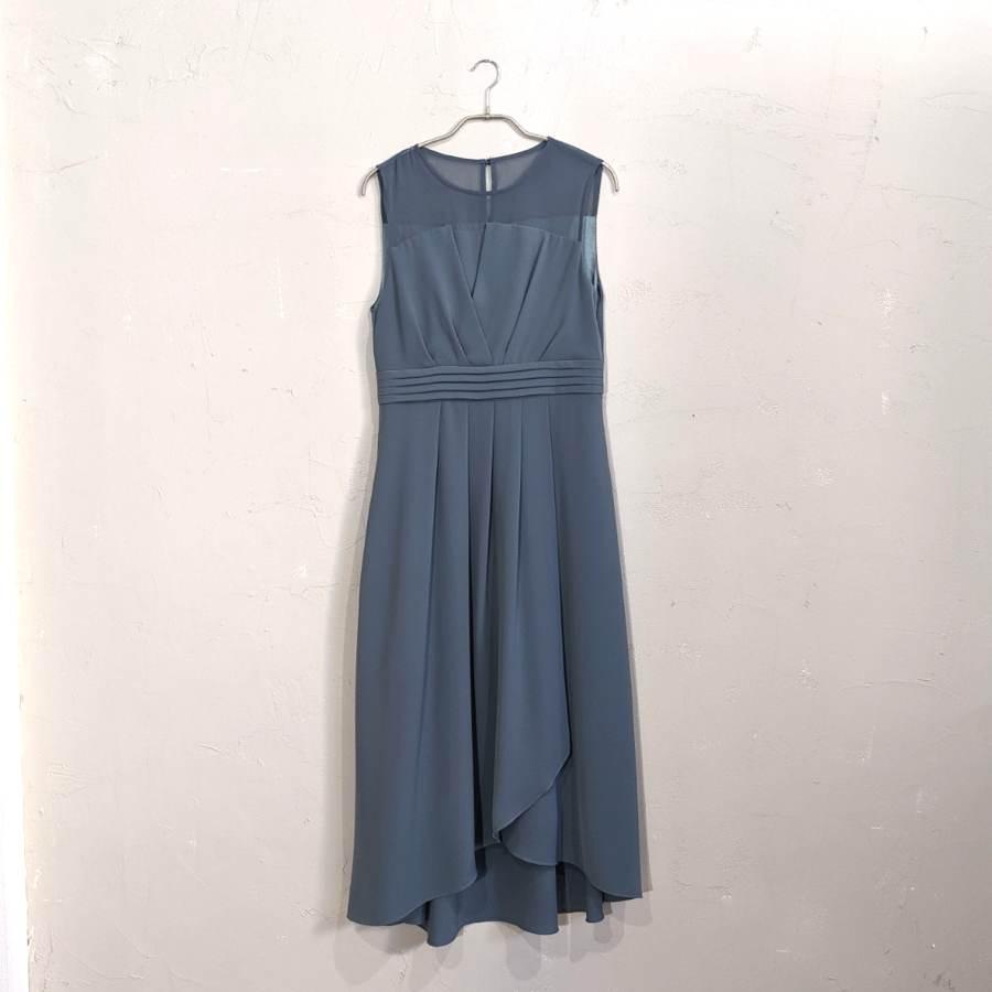 デコルテシースルー巻きスカート風ワンピースドレス 2Lサイズ グリーン