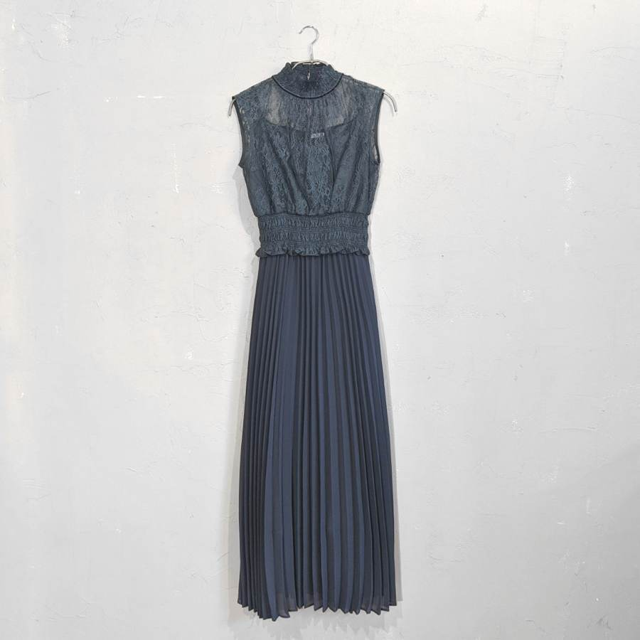 Dorry Doll ハイネックシアーレースウエストギャザー切替変形プリーツスカートワンピースドレス M/Freeサイズ グリーン