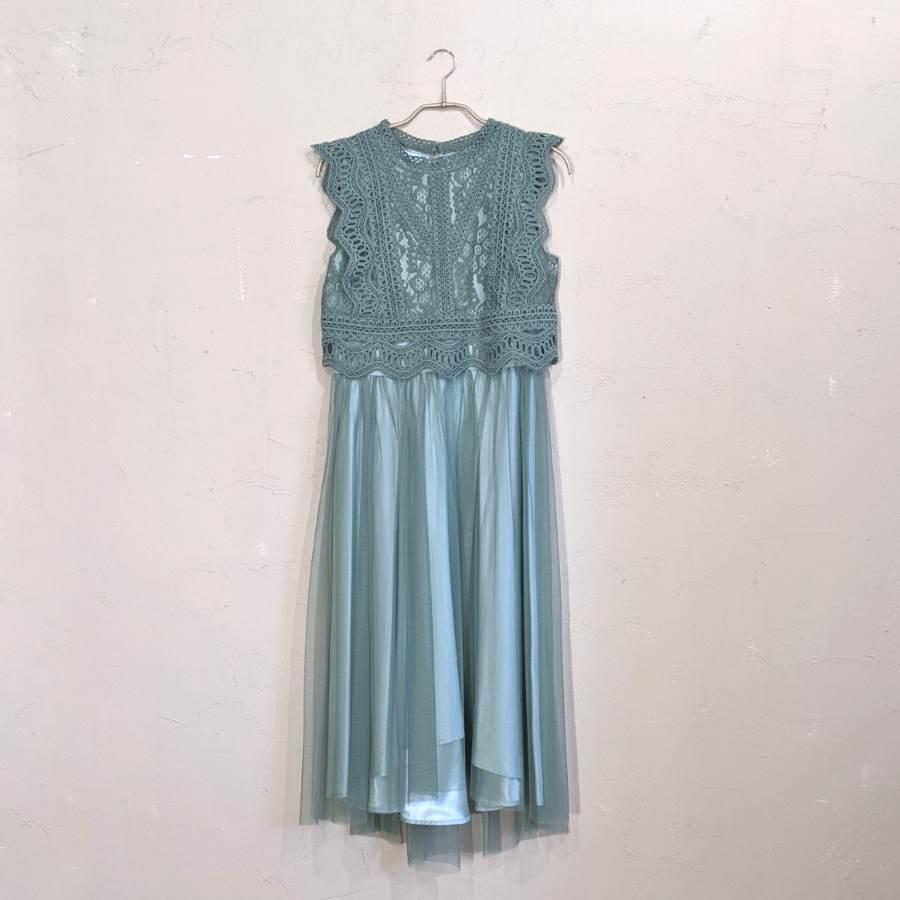 AIMER レーストップス×チュールワンピースドレス M/Freeサイズ グリーン