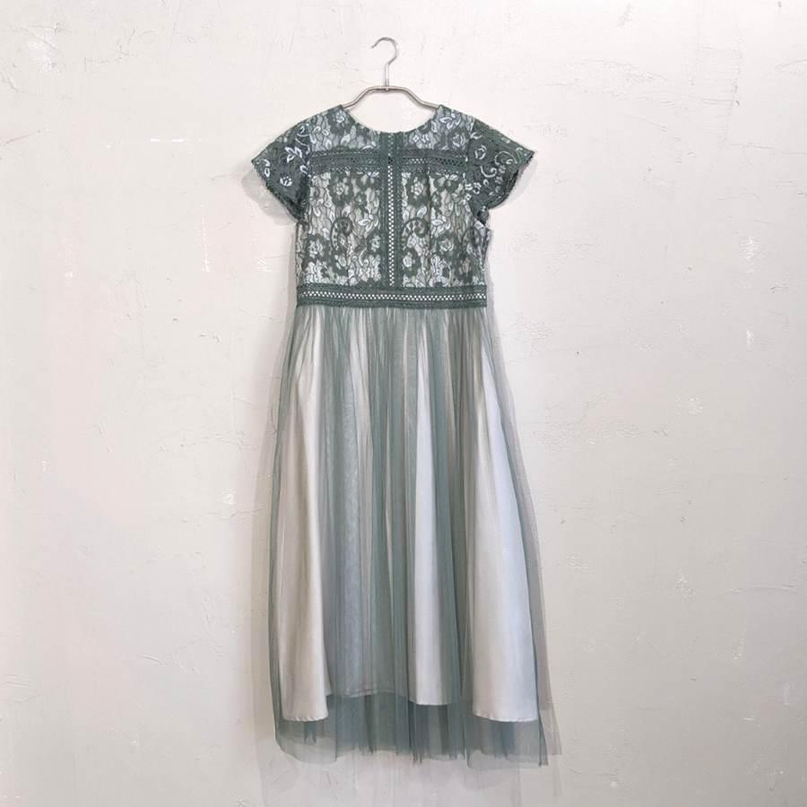 Fashion Letter フラワー刺繍レース切り替えチュールスカートドレス M/Freeサイズ グリーン
