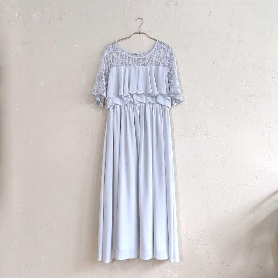 レース刺繍マキシ丈ワンピースドレス 3Lサイズ ブルー