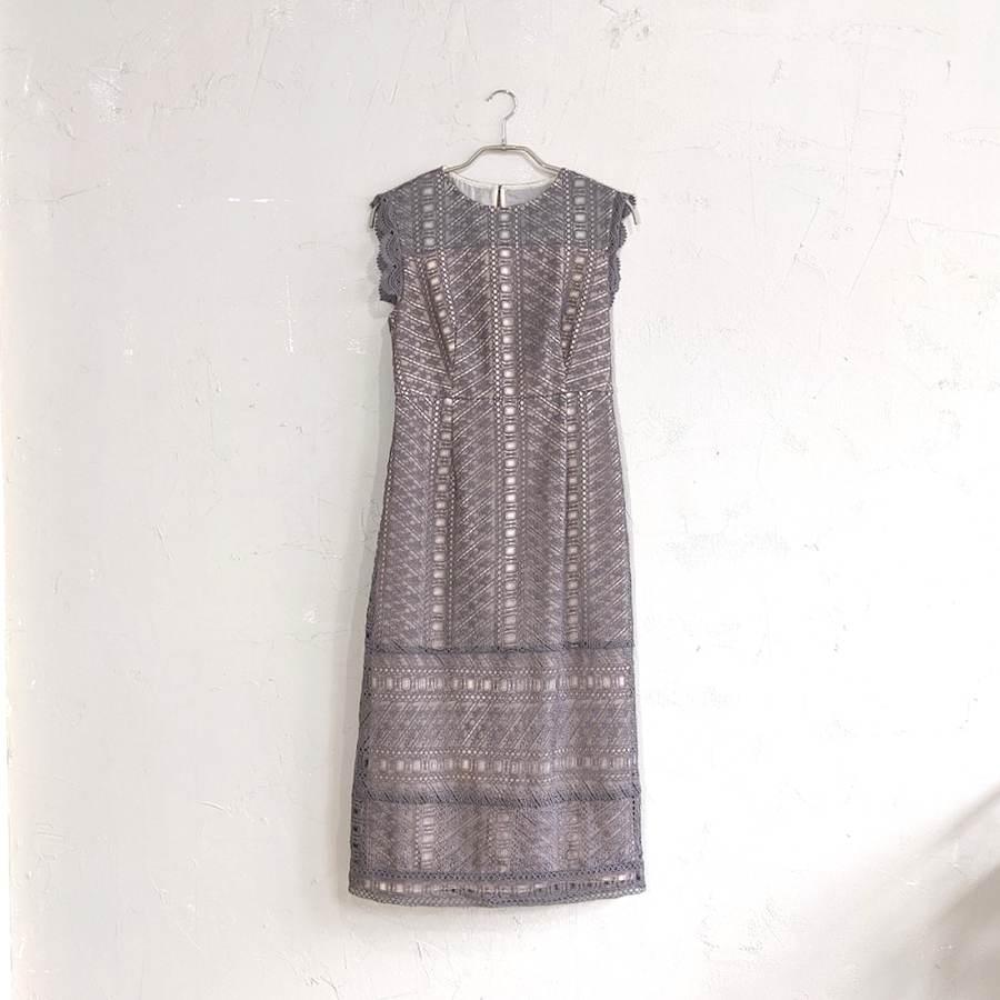 Dorry Doll 幾何学模様柄ケミカルレース使いナローラインワンピースドレス M/Freeサイズ ブラウン