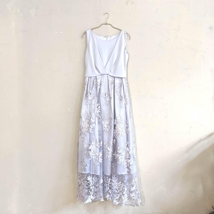 miniyu レース切替オケージョンロングドレス M/Freeサイズ シルバー