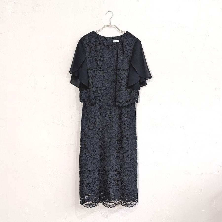 花柄レース細見えドレス M/Freeサイズ ブラック
