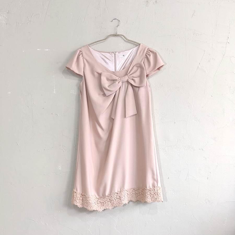 Dorry Doll フロントリボンAラインワンピースドレス M/Freeサイズ ベージュ