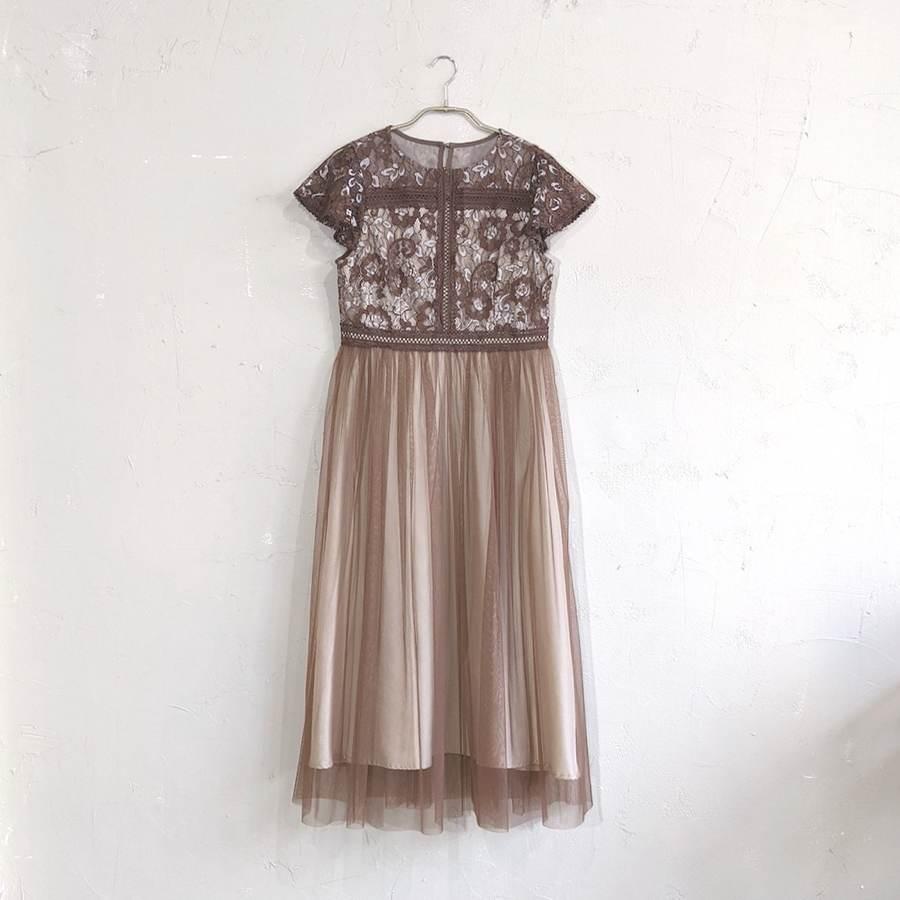Fashion Letter フラワー刺繍レース切り替えチュールスカートドレス M/Freeサイズ ブラウン