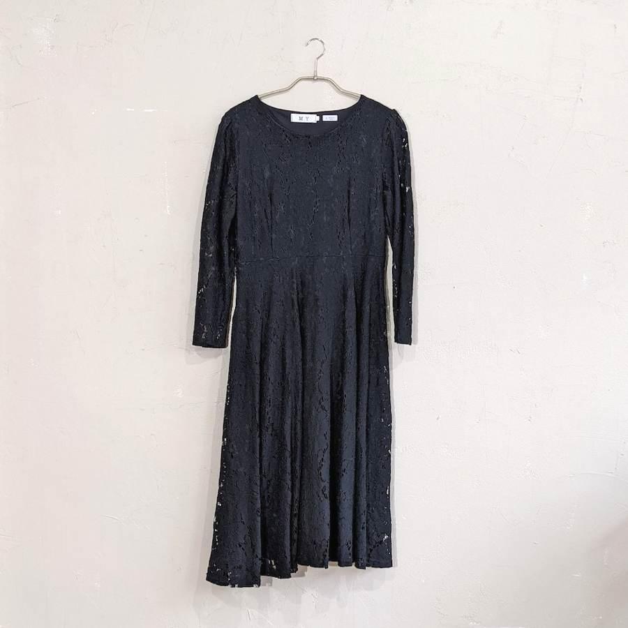総レースAラインワンピースドレス Lサイズ ブラック
