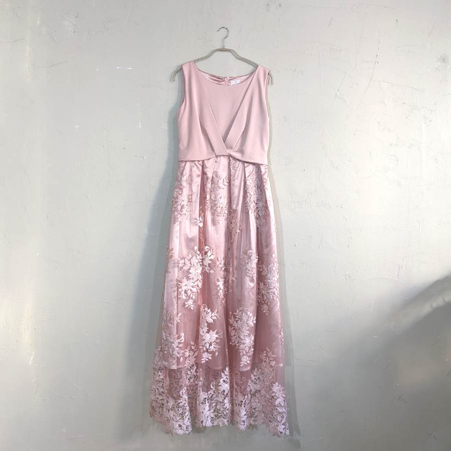 miniyu レース切替オケージョンロングドレス M/Freeサイズ ピンク
