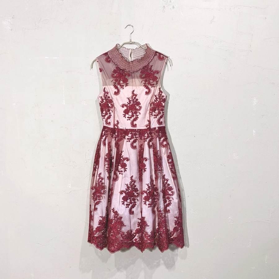 Dorry Doll 花柄刺繍入りサッシュベルト付きチュールレースドレス M/Freeサイズ レッド