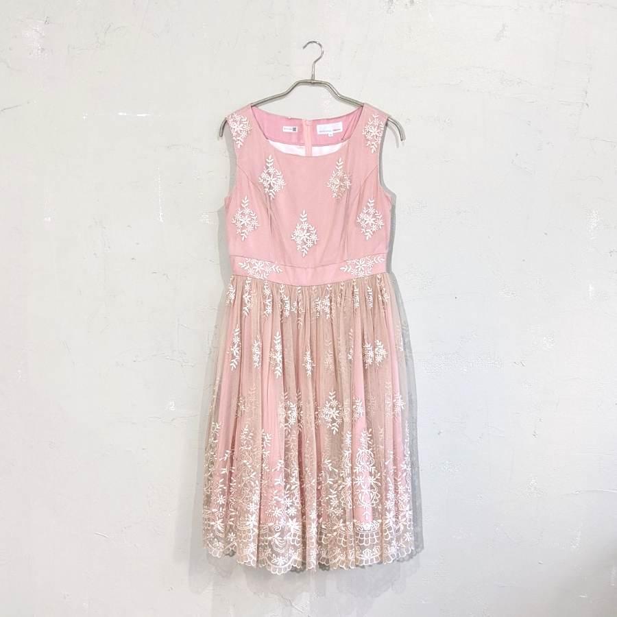 総チュール花柄ワンピースドレス M/Freeサイズ ピンク