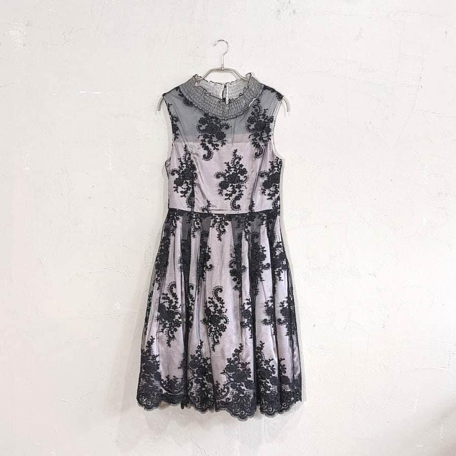 Dorry Doll 花柄刺繍入りサッシュベルト付きチュールレースドレス M/Freeサイズ ブラック