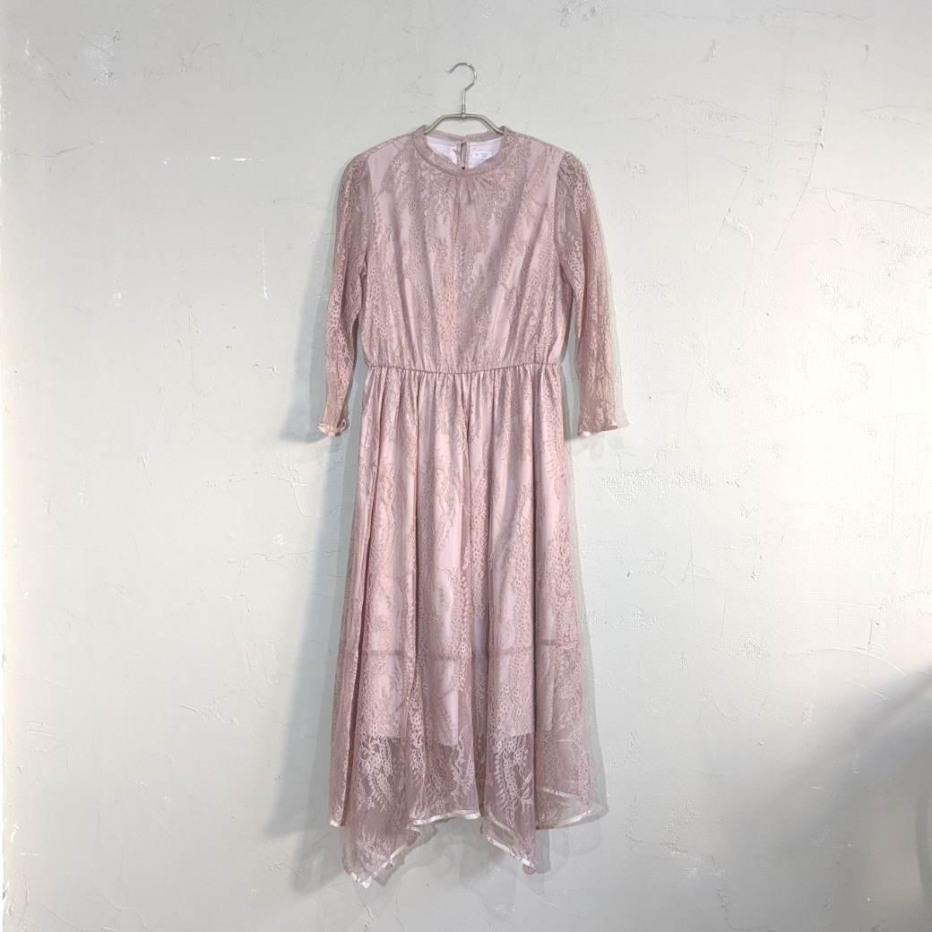 七分袖総レースドレス