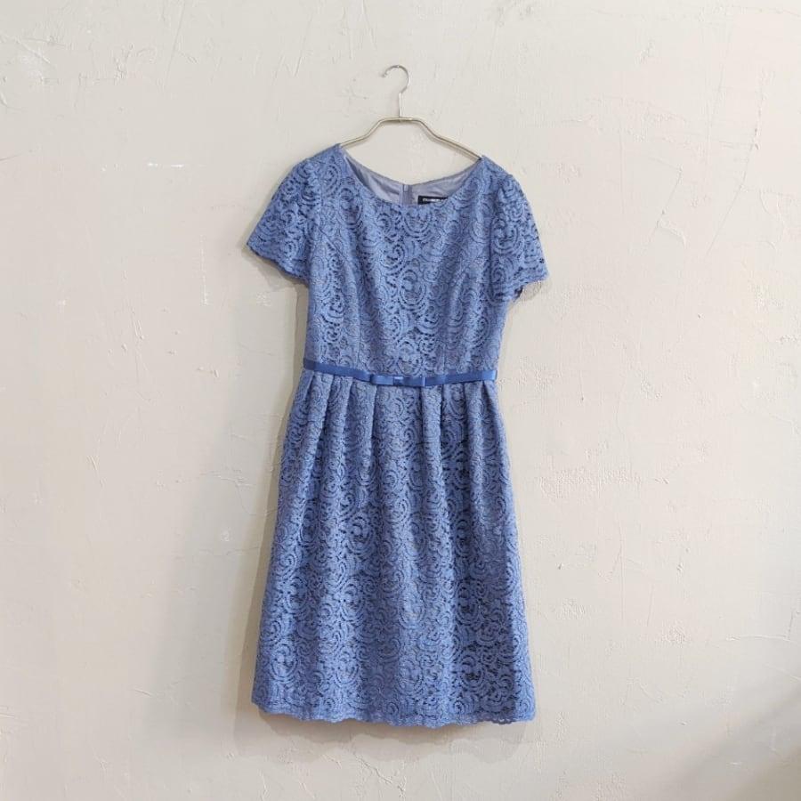 STRAWBERRY-FIELDS ラメレースウエストリボンワンピースドレス M/Freeサイズ ブルー