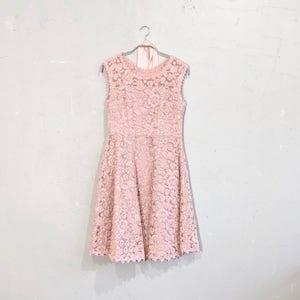 総花柄レースワンピースドレス M/Freeサイズ オレンジ