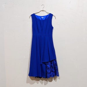 Dorry Doll ウェストタック入り花柄刺繍レース使いギャップレングス丈ワンピース M/Freeサイズ ブルー