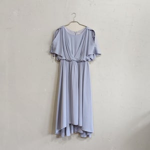 Fashion Letter ウエストシャーリングパーティードレス Lサイズ ブルー