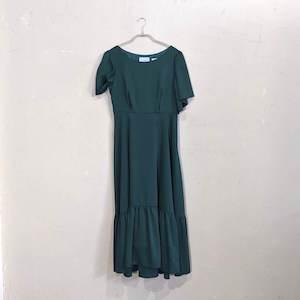 GIRL バックレースアップロング丈ワンピースドレス Sサイズ グリーン