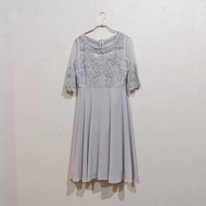 Dorry Doll デコルテシースルーチュール刺繍切替シフォンフレアーワンピース M/Freeサイズ グリーン