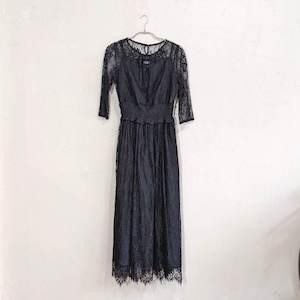 Dorry Doll ウエストシャーリングレースドレス M/Freeサイズ ブラック