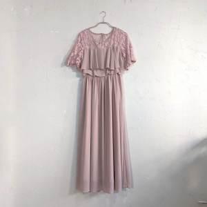 レース刺繍マキシ丈ワンピースドレス M/Freeサイズ ベージュ