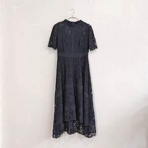 Fashion Letter ケミカルレース×ハシゴレース切り替えワンピース M/Freeサイズ ブラック